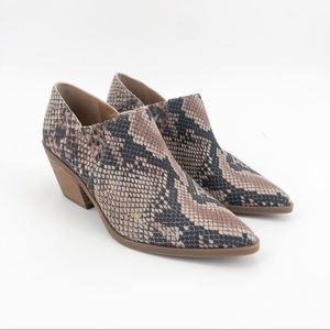Lucky brand tabea snakeskin ankle booties